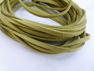 5m x 3mm Olive Green Faux Imitation Suede Cord Thong Lace Beading Necklace (F67)
