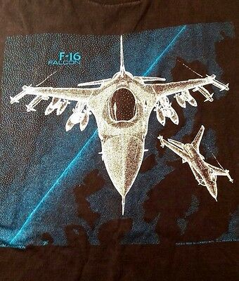 Vintage 1988 Blackbird F-16 Falcon Tactical Fighter 2-Sided T Shirt  ~ Size  L