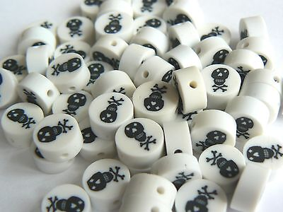 Polymer Fimo Clay White 10x5mm Coin Shapes with Black Skull x 30g (60 beads)