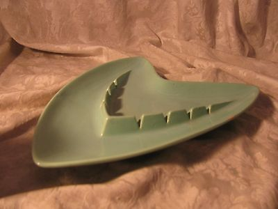 Vintage Aqua Blue Shawnee Ashtray Mid Modern Century 209 V Shaped