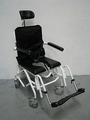 Tilt In Space Recline Gas Assisted Mobile Shower Commode