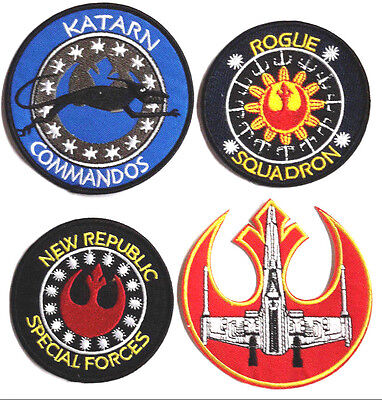 "Star Wars Rebel Forces Special Logo 3.5"" to 4"" Patch Set of 4-FREE S&H(SWPA-RF4)"