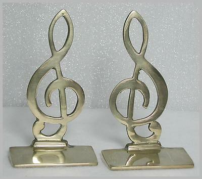 Vintage 1928 the thinker brass bronze 7 statue bookends for library or den - Treble clef bookends ...
