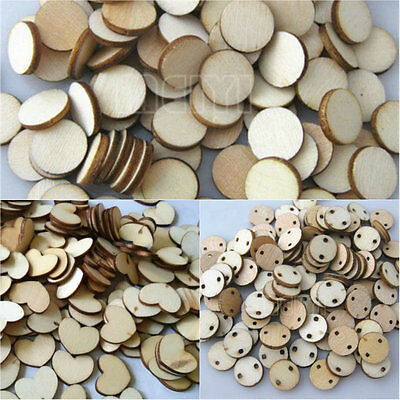 100x Wooden Wood Tags Circle Heart Pieces Painting Craft Cardmaking Scrapbooking
