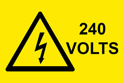 10 x 240 Volts Electrical Safety Warning Vinyl Labels / Stickers 76mm x 38mm