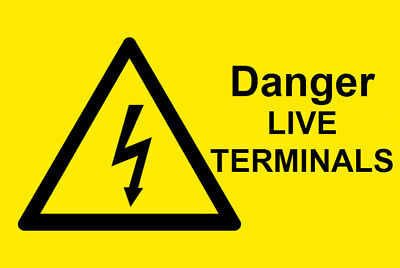 50 x Danger Live Terminals  - Electrical Safety Warning Labels / Stickers. 76x51