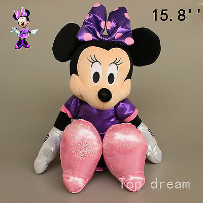 Original Purple Minnie Mouse Plush Soft Toy Stuffed Doll Cuddly Teddy Gift 40cm