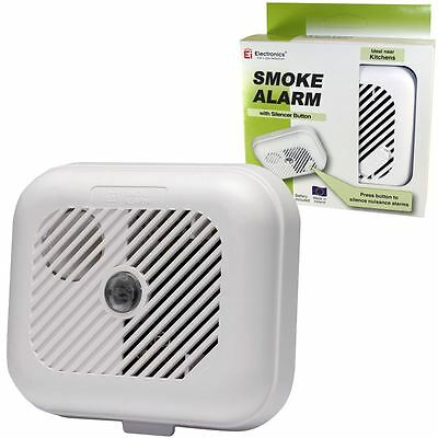 Ei KiteMarked Smoke Detector Fire Alarm Ionisation Batteries Included with Hush