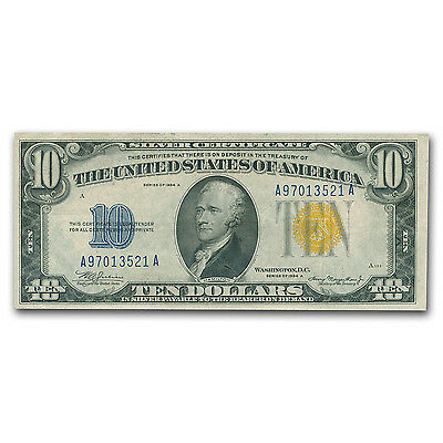 1934-A $10 Silver Certificate Yellow Seal-North Africa XF - SKU #89035