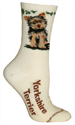 YORKSHIRE TERRIER Socks - natural background, American made, 75% cotton