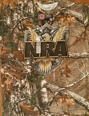 New REALTREE EAGLE SHIELD CAMO CAMOFLAUGE T SHIRT OFFICIALLY LICENSED NRA SHIRT