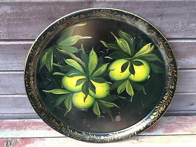 Large Antique TOLEWARE Tin Metal Painted LEMON Fruit Round Tray SIGNED
