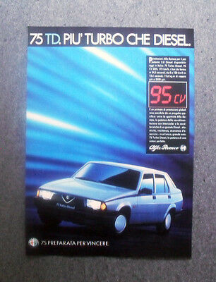 Pubblicita / Advertising - ALFA ROMEO 75 TD , TURBODIESEL (1987) #3607