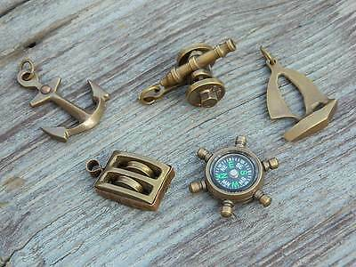 Mini Nautical Gift Set- Cannon,Pulley,Anchor,Compass,Yacht-Antiqued Brass