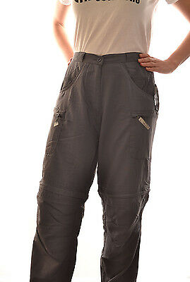 REGATTA LADIES GEO ZIP OFF CONVERTIBLE TROUSERS TRAVEL GREY or KHAKI WJ146