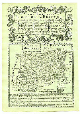 1720 Bowen Antique Map of Middlesex Double Sided with Road Map