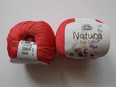 DMC Natura, Just Cotton, cotton yarn, 50g, shade - N18, CORAL, red