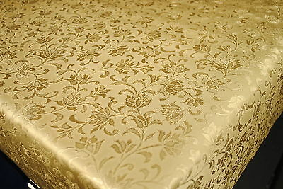 Gold Floral Embossed Vinyl Wipe Clean Pvc Tablecloth