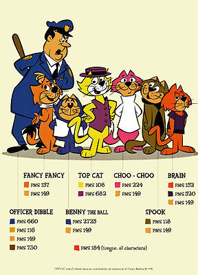 Hanna Barbera STYLE GUIDE PLATE - TOP CAT & GANG COLOR GUIDE