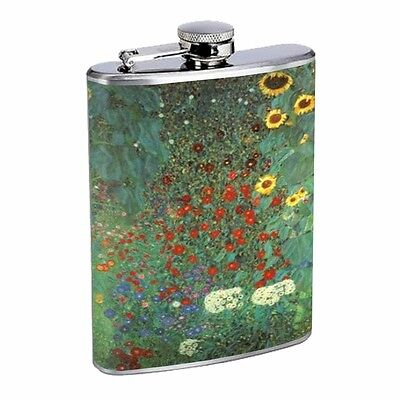 Gustav Klimt Garden Sunflowers Flask D12 8oz Stainless Steel