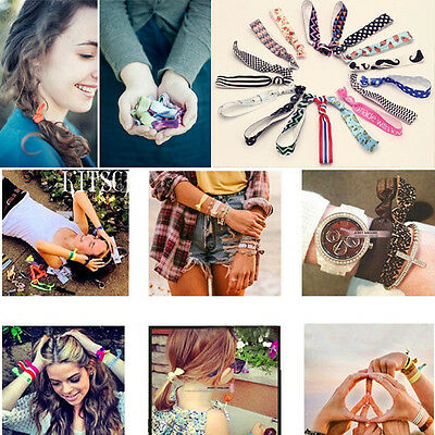 5Pcs Hot  Exquisite Pattern Colorful No Crease Hair Ties Ponytail Bracelets Rope