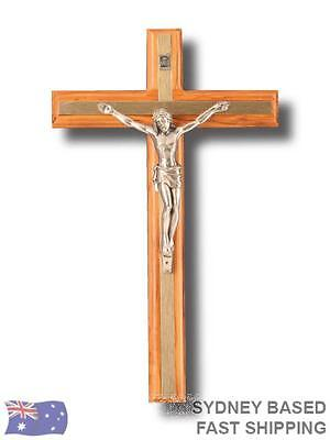 WALL CRUCIFIX olive wood & metal religious Cross 20cm x 1cm BNWT