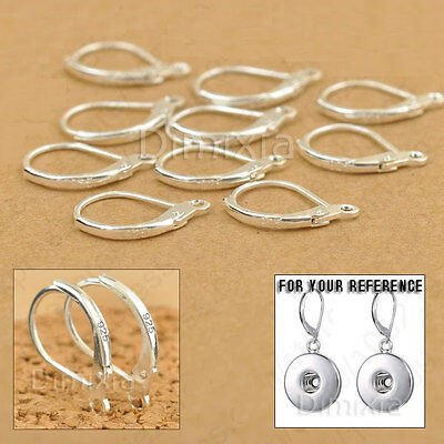 10X 925 Sterling Silver Earring Leverback Finding Huggie Loop Round Open Ring