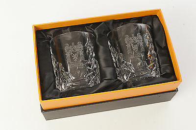 Pair of Cut Lead Crystal Whisky Glasses Engraved with Your Family Coat of Arms