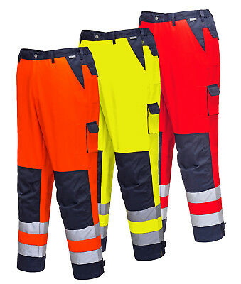 Portwest Hi Vis Contrast Traffic Trousers Tx51 High Viz Knee Pocket Trouser