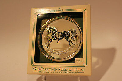 Hallmark Ornament Old-Fashioned etched Brass Rocking Horse 1984 Vintage