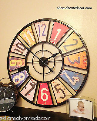 Large Metal License Plate Wall Clock Round Industrial Distressed Rustic Vintage