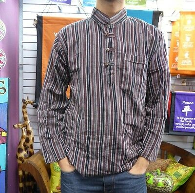 100% Cotton Long Sleeved Pull-over Shirt Striped Nepalese Size XL, L