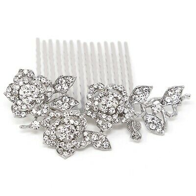 New Silver rhinestone rose flower bling Hair Comb Clip Prom Wedding Accessories