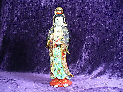 "Antique 19C Meiji Japanese Kutani porcelain KuanYin 12"" excellent"