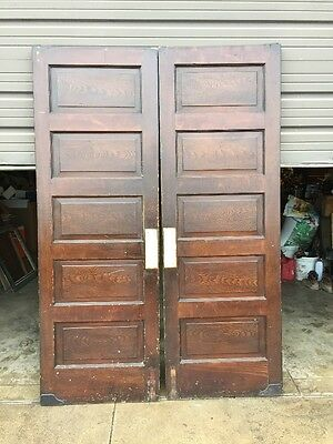 Ca 12 One Pair Antique Pine Raised Panel Swing Doors