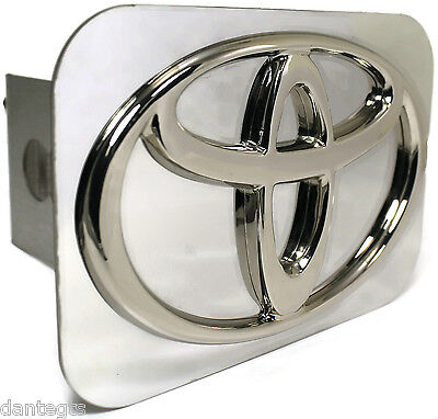 "Toyota Logo Chrome Trailer Hitch Plug Cover 2"" Hitch Receiver Stainless Steel"