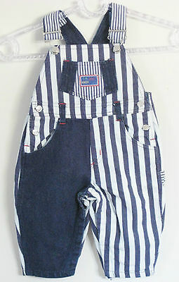 C.B. KID Boys Size 12 Months Blue Striped Overalls