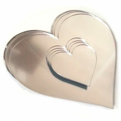 Silver Mirror Acrylic Heart Shaped Placemats & Coasters Set of 4