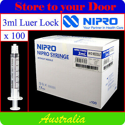 -100 x 3ml Syringes Luer Lock - Disposable Hypodermic Syringe / Medical