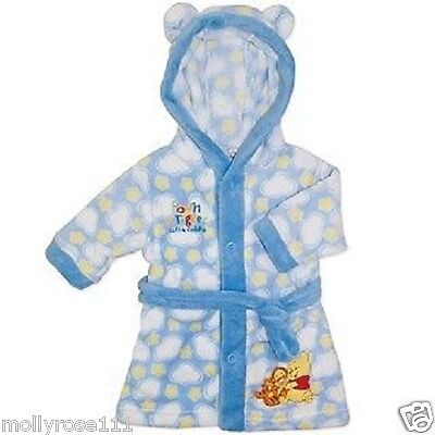 Baby Boy Girl Disney Blue White Winnie The Pooh Dressing Gown Robe Sleepwear