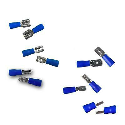 50 BLUE SPADE CRIMP TERMINALS - Insulated Connectors Male & Female cable shoes