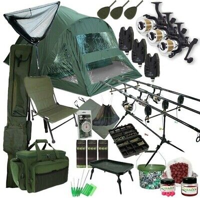 3 Rod Carp Set Up. 2 Man Double Skin Carp Fishing Bivvy Set. Rods Reels Chair