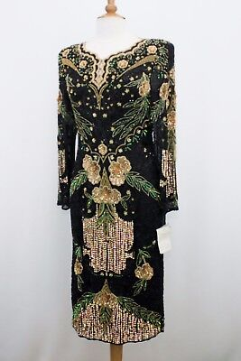 "Jasdee Vintage Dress Length 45"" Inch Hand Work Bead & Sequins On Silk Style 1174"
