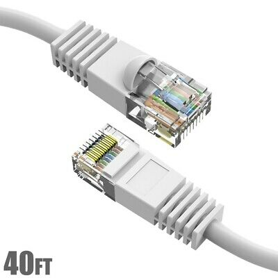 40Ft Cat5E Network LAN Ethernet Modem Molded Snagless Patch Booted Cable White