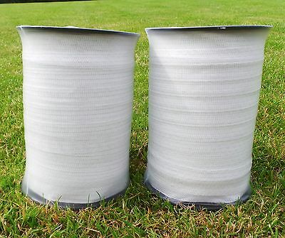 ELECTRIC FENCE TAPE - 2 x 200 Metres 20mm White 400m Poly Fencing Horse Paddock
