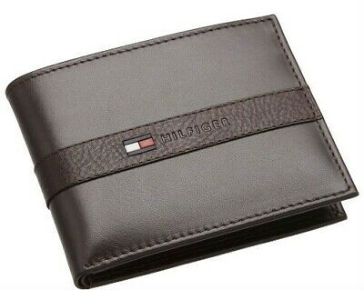 New Men's Tommy Hilfiger Leather Credit Card Wallet Bifold 31tl22x062 Brown