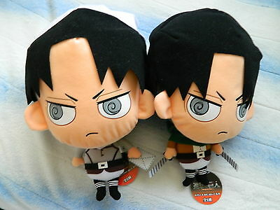 Set of 2 Rare Round1 Limited Attack on Titan Levi Plush Cleaning and Uniform Ver