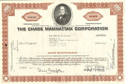 Chase Manhattan Corporation   1970s David Rockefeller stock certificate