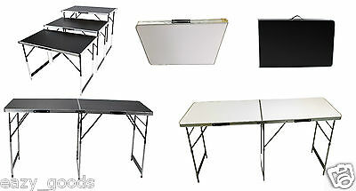 1M 2M Metre Height Adjustable Aluminium Lightweight Folding Tables Black White