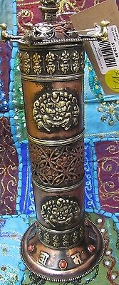 Nepalese Handmade Copper Incense Burner Tower Buddhist With Gold Detail